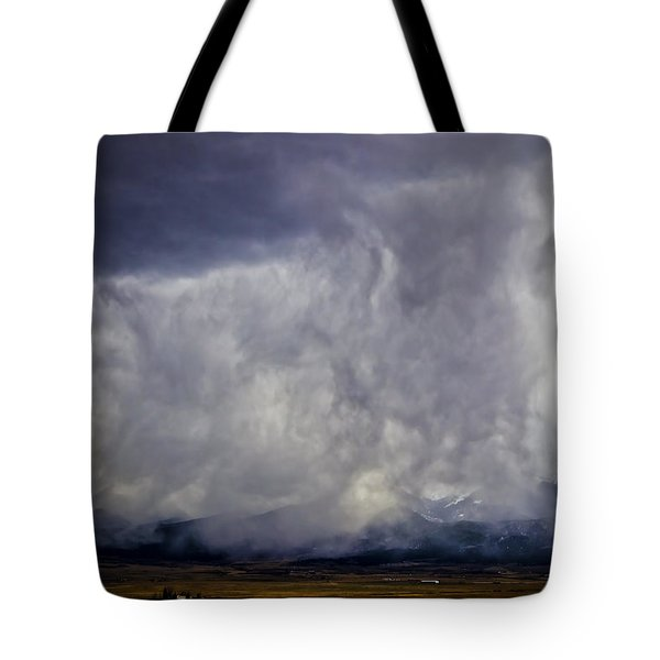 Snow On The Rockies Tote Bag by Greg Reed