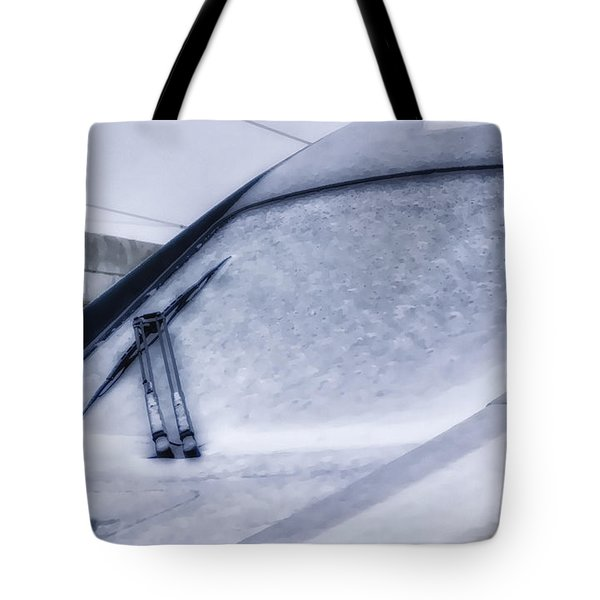 Snow On The Train Tote Bag by Joan Carroll