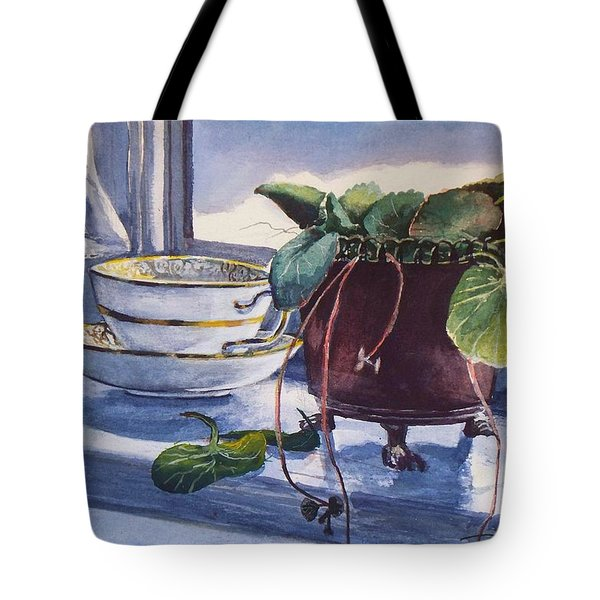Tote Bag featuring the painting Snow Outside The Window by Joy Nichols