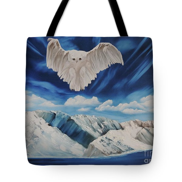Snow Owl Tote Bag by Dianna Lewis