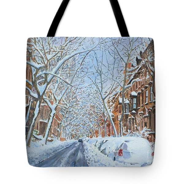 Snow Remsen St. Brooklyn New York Tote Bag by Anthony Butera