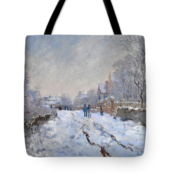 Snow Scene At Argenteuil Tote Bag