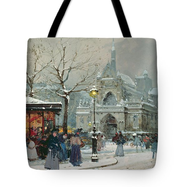 Snow Scene In Paris Tote Bag by Eugene Galien-Laloue