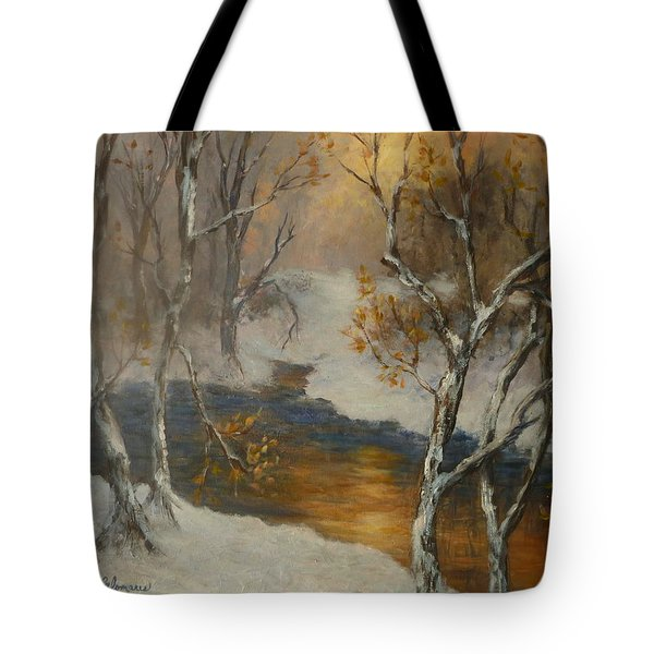 Snow Sunset Paintings Tote Bag