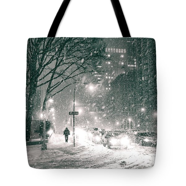 Snow Swirls At Night In New York City Tote Bag by Vivienne Gucwa