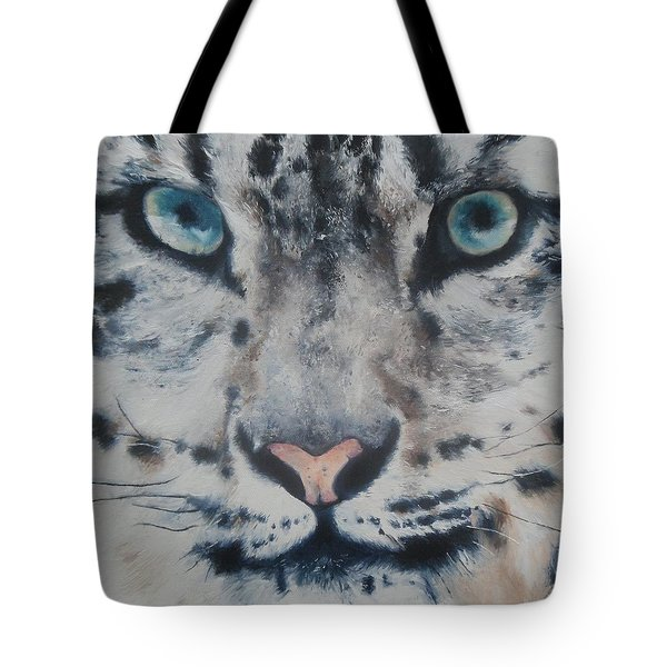 Tote Bag featuring the painting Snow Tiger by Cherise Foster