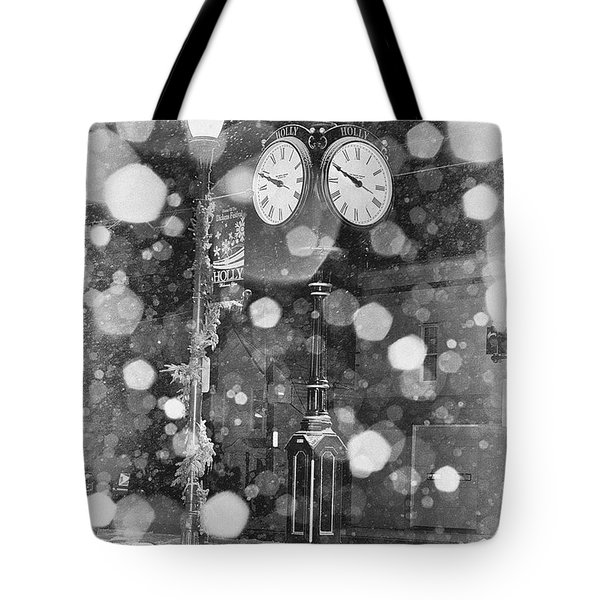 Snow Time Holly Michigan Tote Bag