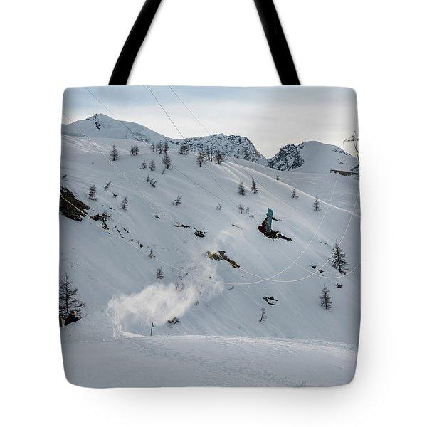 Snowboarder Jumping Off A Kicker Tote Bag