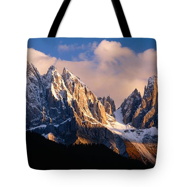 Snowcapped Mountain Peaks, Dolomites Tote Bag by Panoramic Images