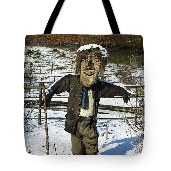 Snowcapped Scarecrow Tote Bag by Anne Gilbert