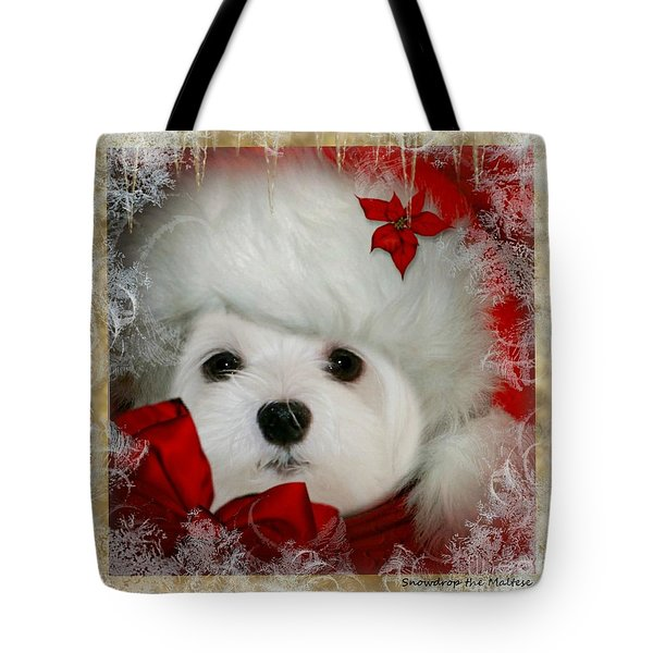Tote Bag featuring the mixed media Snowdrop  And  Santa Hat by Morag Bates