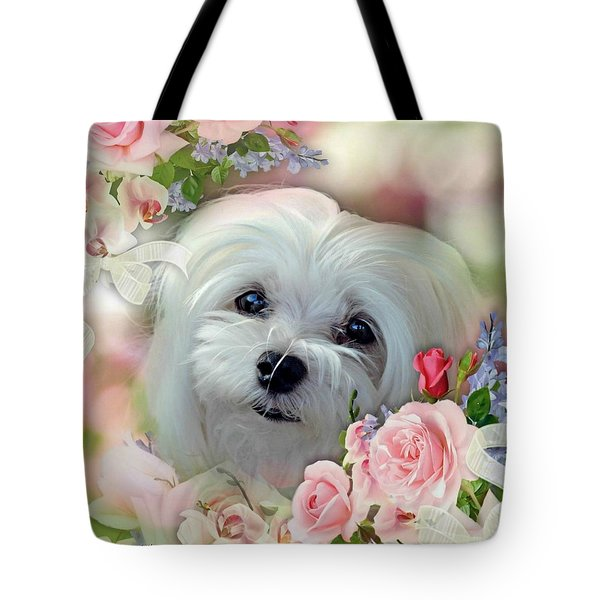 Snowdrop The Maltese Tote Bag by Morag Bates