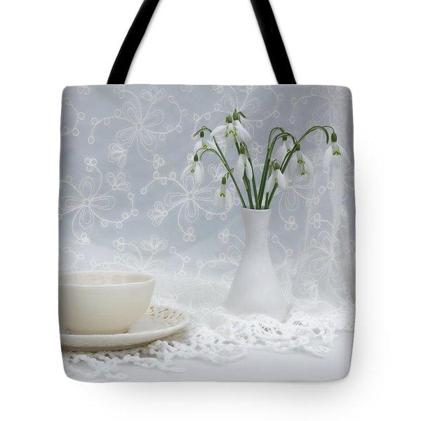 Snowdrops At Teatime Tote Bag by Ann Garrett