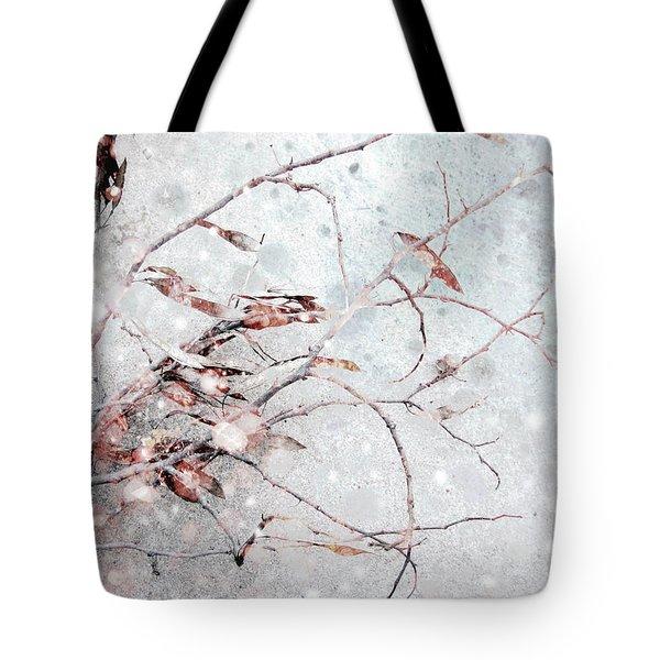 Snowfall On Branch Tote Bag by Ann Powell