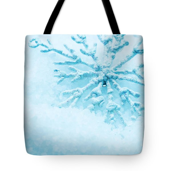 Snowflake In Snow Tote Bag by Michal Bednarek