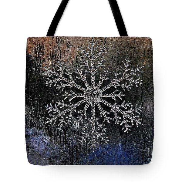 Snowflake On A Night Window Tote Bag by Elaine Manley