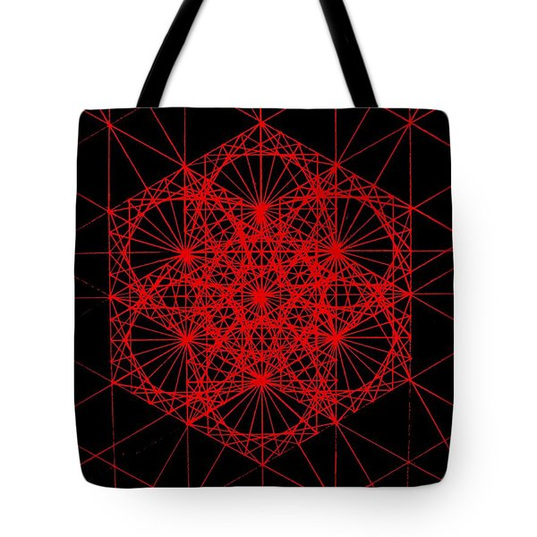 Tote Bag featuring the drawing Snowflake Shape Comes From Frequency And Mass by Jason Padgett
