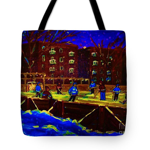 Snowing At The Rink Tote Bag by Carole Spandau