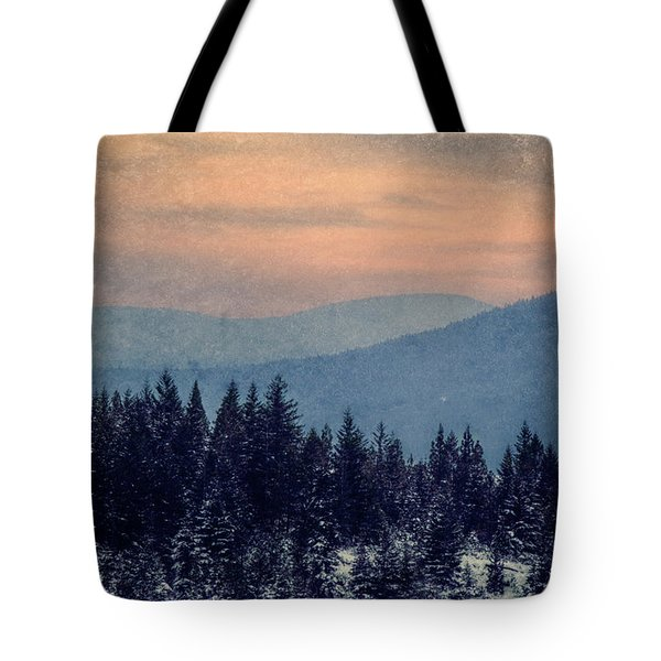 Snowing Sunset Tote Bag by Melanie Lankford Photography