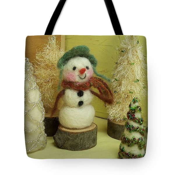 Snowman And Trees Holiday Tote Bag