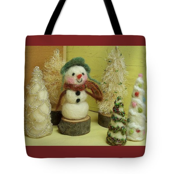 Snowman And Trees Holiday Tote Bag by Mary Wolf