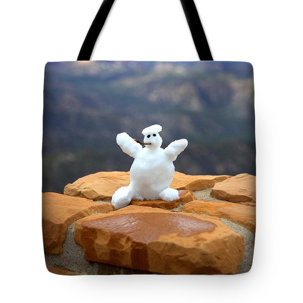 Snowman At Bryce - Square Tote Bag by Gordon Elwell