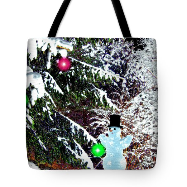 Tote Bag featuring the digital art Snowman by Daniel Janda