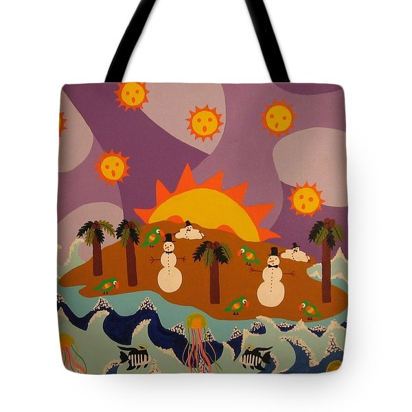 Tote Bag featuring the painting Snowman Is An Island by Erika Chamberlin