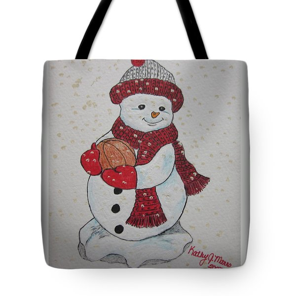 Snowman Playing Basketball Tote Bag by Kathy Marrs Chandler
