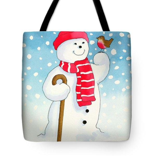 Snowmans Friend Tote Bag by Lavinia Hamer