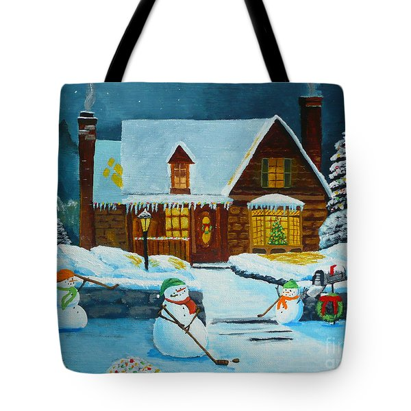 Snowmans Hockey Tote Bag by Anthony Dunphy
