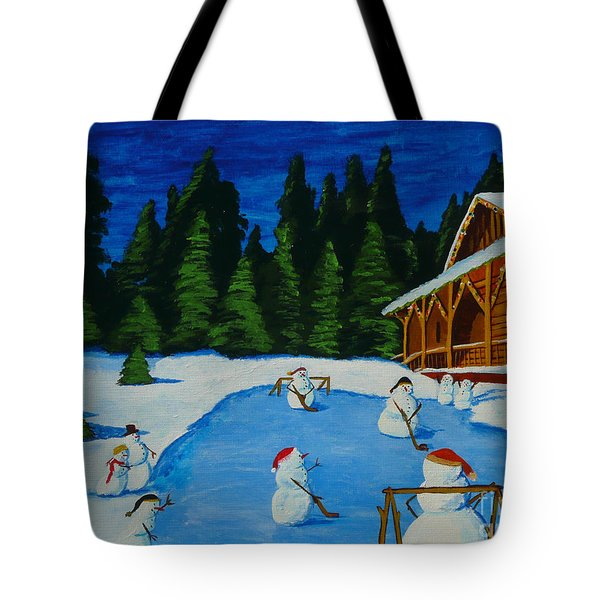 Snowmans Hockey Two Tote Bag by Anthony Dunphy