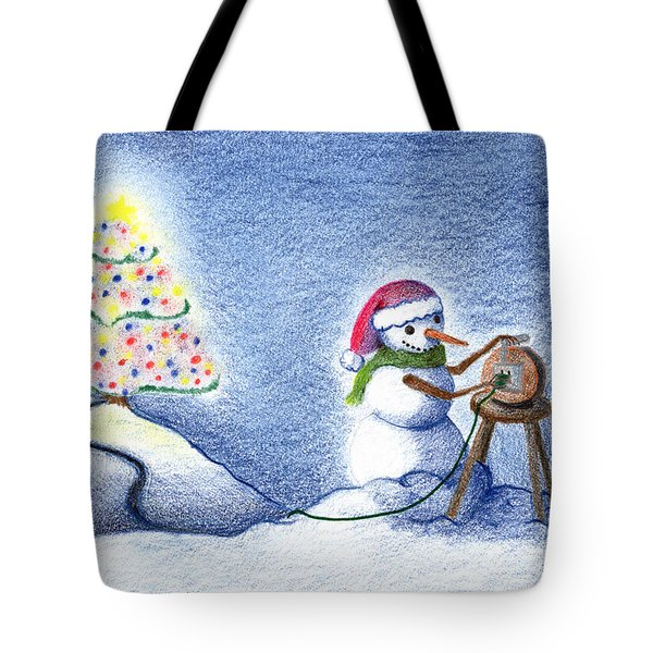 Tote Bag featuring the drawing Snowman's X'mas by Keiko Katsuta