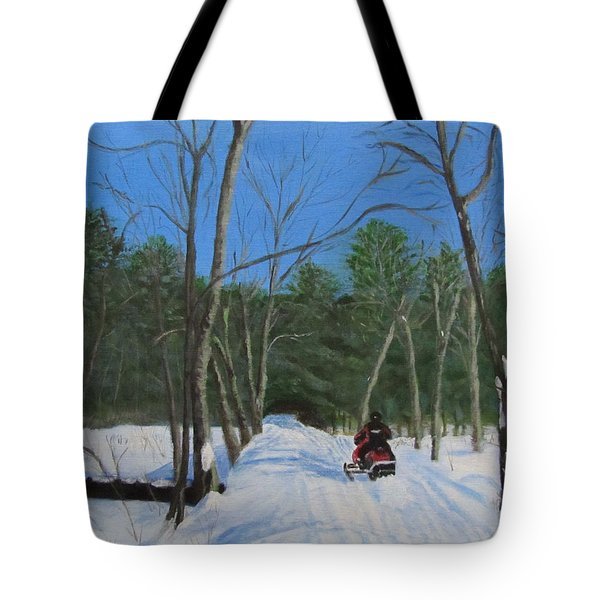Snowmobile On Trail Tote Bag