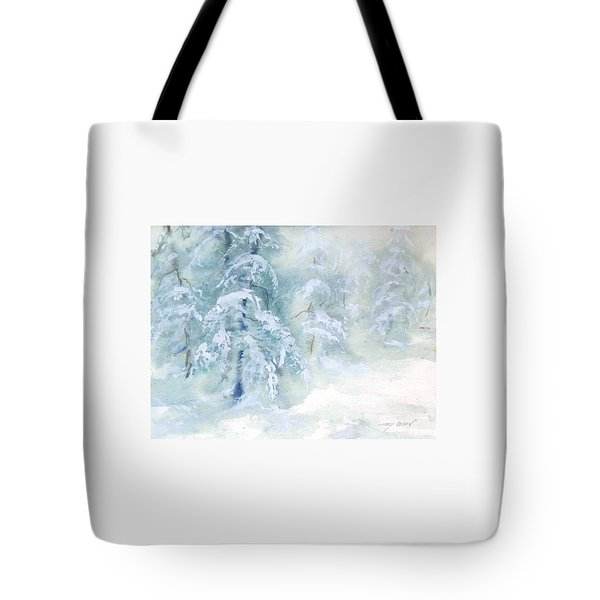 Tote Bag featuring the painting Snowstorm by Joy Nichols
