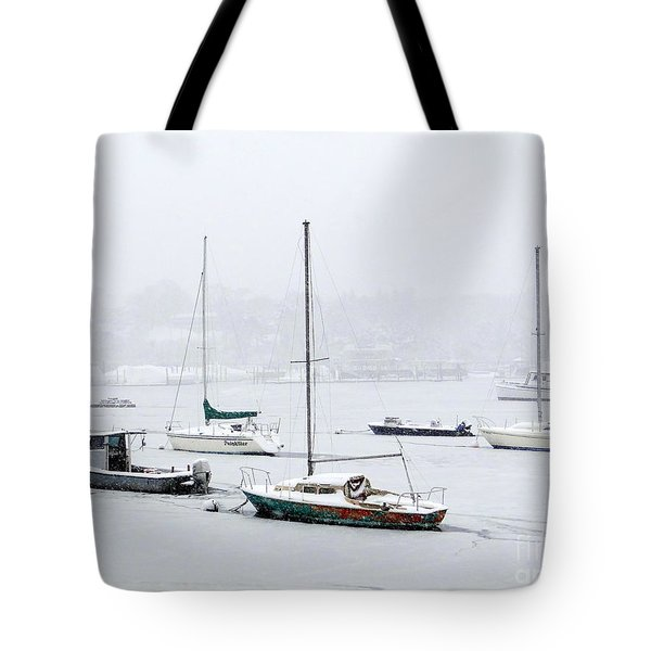 Snowstorm On Harbor Tote Bag by Ed Weidman