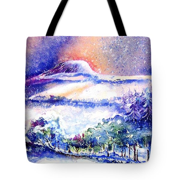 Tote Bag featuring the painting Snowstorm Over Eagle Hill Hacketstown  by Trudi Doyle