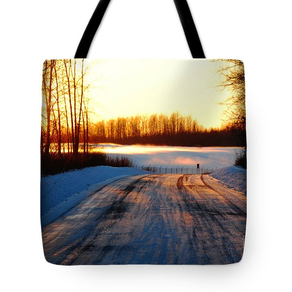 Snowy Anchorage Sunset Tote Bag