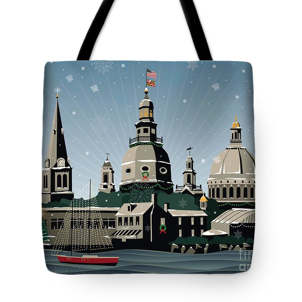 Snowy Annapolis Holiday Tote Bag