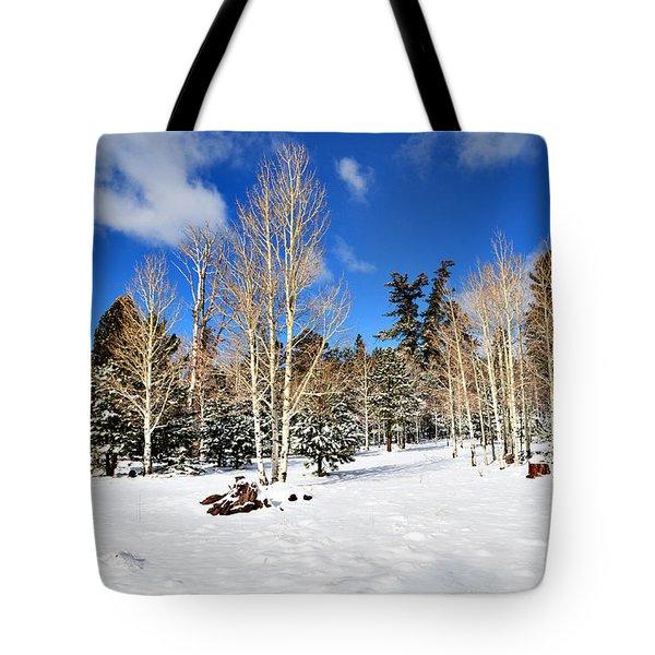 Snowy Aspen Grove Tote Bag