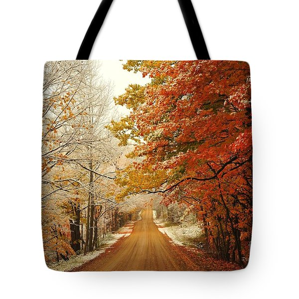 Snowy Autumn Road Tote Bag
