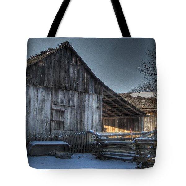 Snowy Barn Tote Bag by Jane Linders