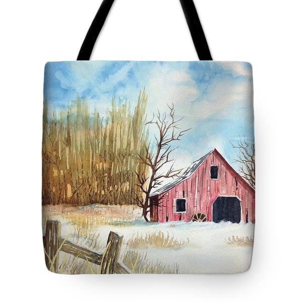 Snowy Barn Tote Bag