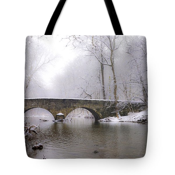 Snowy Bells Mill Road Bridge Tote Bag by Bill Cannon