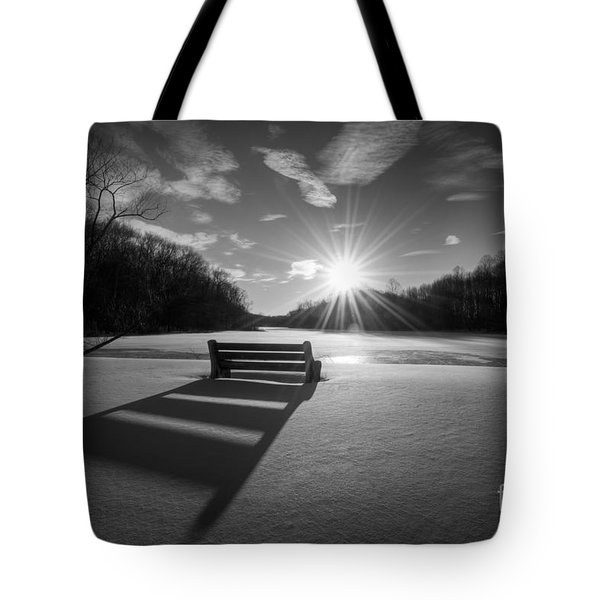 Snowy Bench Bw Tote Bag