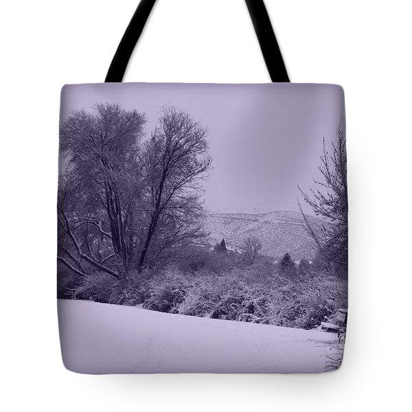 Snowy Bench In Purple Tote Bag by Carol Groenen