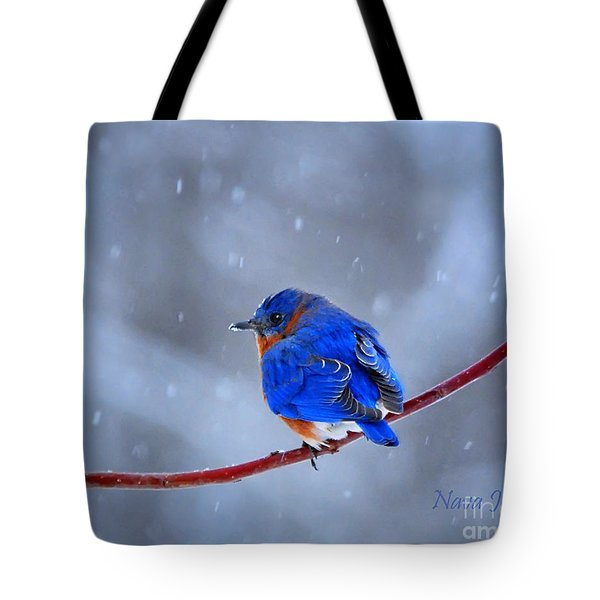 Snowy Bluebird Tote Bag