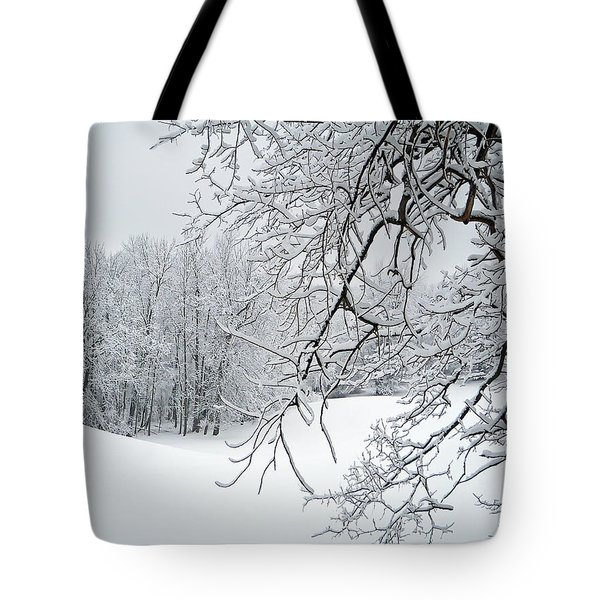 Snowy Branches Tote Bag by Aimee L Maher Photography and Art Visit ALMGallerydotcom