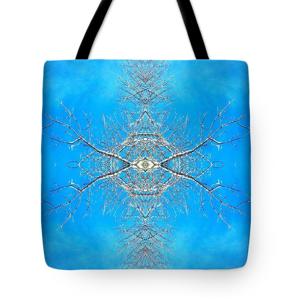 Tote Bag featuring the photograph Snowy Branches In The Sky Abstract Art Photo by Marianne Dow