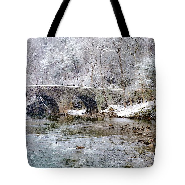 Snowy Bridge Along The Wissahickon Tote Bag by Bill Cannon